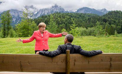 Angela Merkel, con Barack Obama, el 8 de junio de 2015.