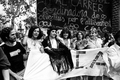 Ocaña, con mantilla, en una manifestación gay en 1978 en Barcelona.