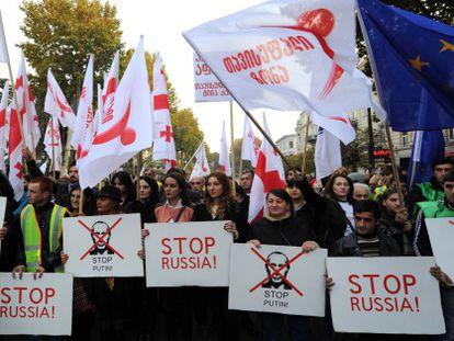 Protesta contra el presidente ruso, en la capital de Georgia el 15 de noviembre