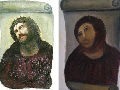 """El eccehomo de Borja, antes y después de la """"restauración"""""""