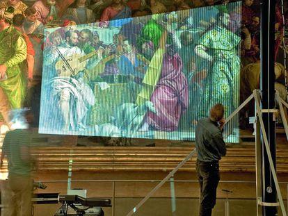 Digitalización del cuadro Las bodas de Caná, de Veronese, realizado por Factum Arte, que aparece en la serie El joven Papa.