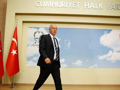 El principal candidato de las oposición a las presidenciales, Muharrem Ince, el lunes en Ankara.