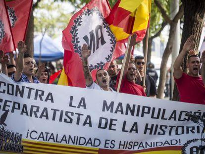 La manifestación convocada por Alianza Nacional, ayer en el Raval.
