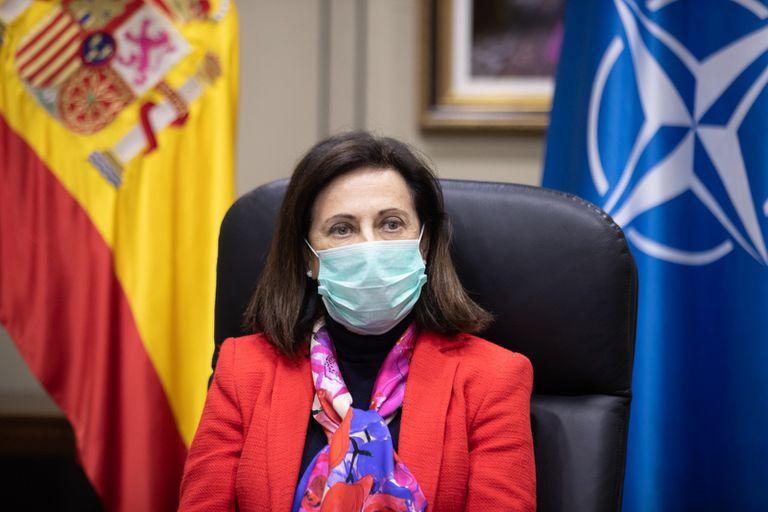 Margarita Robles, en una videoconferencia con los ministros de Defensa de la OTAN, el pasado día 15.