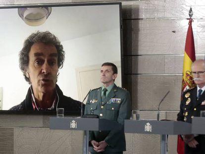 El director del Centro de Coordinación de Alertas y Emergencias Sanitarias, Fernando Simón, en conexión desde su domicilio durante la rueda de prensa diaria sobre el coronavirus.