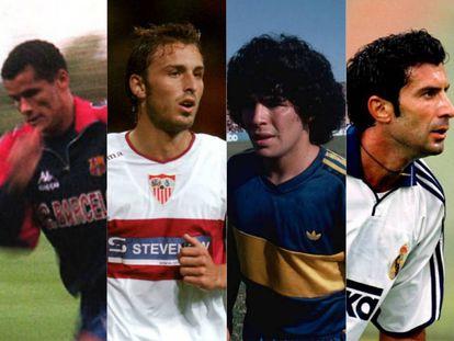 Los futbolistas Rivaldo, Antonio Puerta, Mardona y Figo.