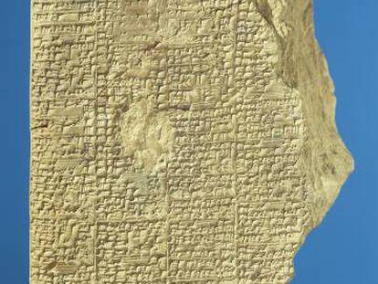 Tablilla con texto matemático del siglo XIV antes de Cristo.