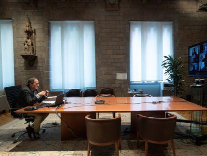 El presidente de la Generalitat, Quim Torra, durante la reunión telemática de la Coreco, el 3 de julio.