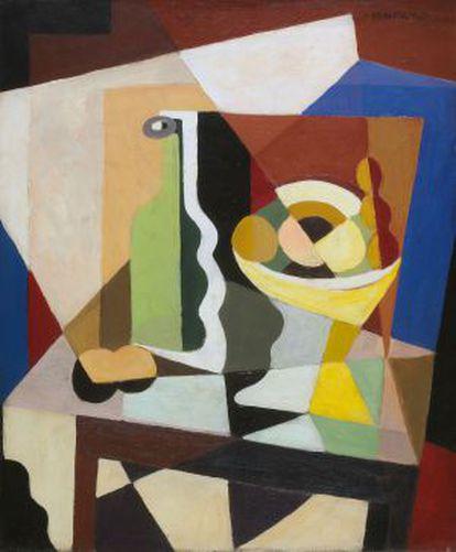 'Botella y copa de frutas sobre tabla', obra de María Blanchard que se exhibe en Málaga.