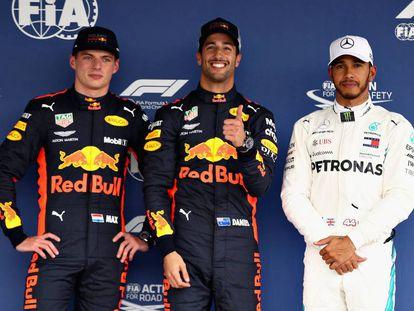 Los tres primeros clasificados en el Gran Premio de México.