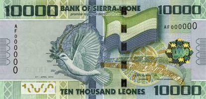 Billete de 10.000 leonas de Sierra Leona.