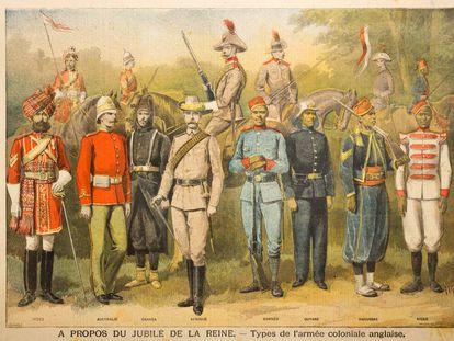 Diferentes tipos de uniforme militar del Ejército colonial británico, en un grabado de 1897.