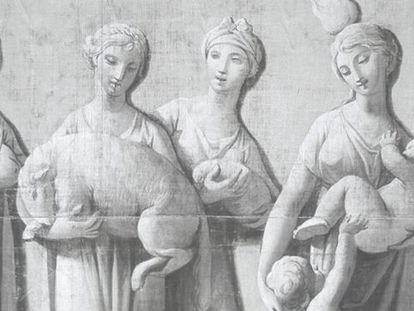 Proyeccion de una foto del friso textil que atesora el Museo Cerralbo.