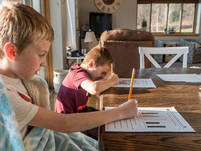 Dos niños estudian en el salón de su casa.