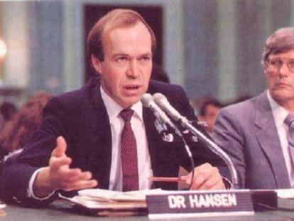 Hansen, el 23 de junio de 1988, en el Senado.
