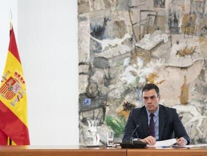 El presidente del Gobierno, Pedro Sánchez, este sábado en la reunión del Comité Científico de la Covid-19.
