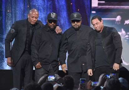 MC Ren, Dr. Dre, Ice Cube y DJ Yella del grupo N.W.A., en Nueva York en 2016.