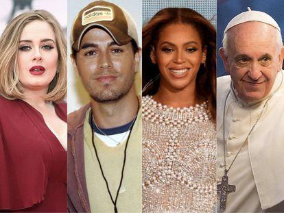 Adele, Enrique Iglesias, Beyonce y el Papa: superestrellas y líderes espirituales que son seguidos por millones en las redes sociales, pero que no siguen absolutamente a nadie.