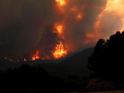 Las llamas arrasan más de 1.100 hectáreas en el incendio originado en Santa Coloma de Queralt (Barcelona).