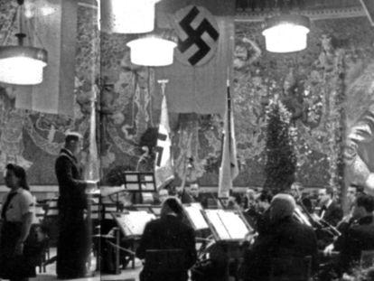 Celebración del aniversario de Hitler en el Palau de la Música Catalana, en 1943.