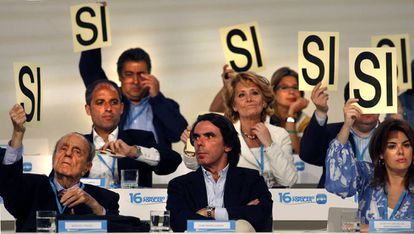 José María Aznar en el congreso nacional del PP de 2008.
