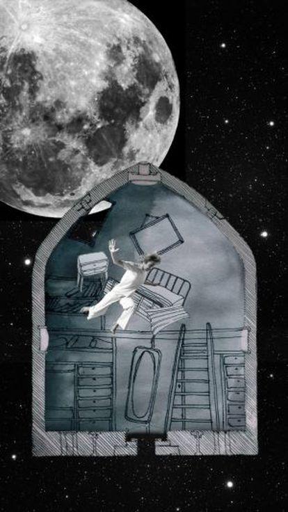 Ilustración del viaje a la Luna en la bala ideada por Julio Verne.