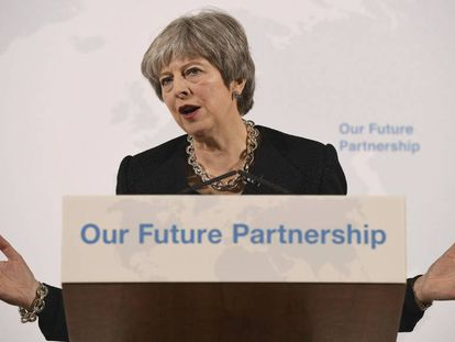 La primera ministra británica Theresa May, en su discurso de este viernes