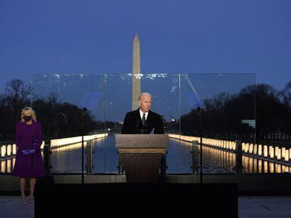 El presidente electo de EE UU, Joe Biden, durante una comparecencia en el Monumento a Lincoln, en Washington.