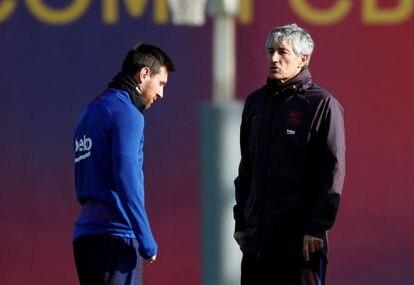 Messi y Setién.