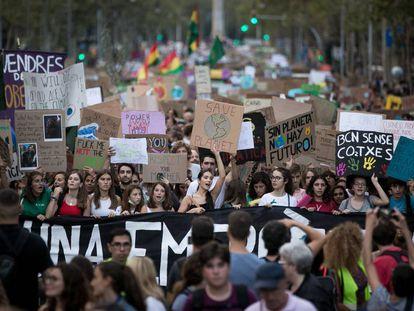 Manifestacion contra el cambio climatico en Barcelona, el pasado mes de septiembre.
