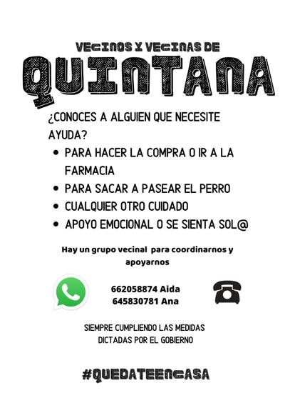 Grupo de apoyo en el barrio de Quintana