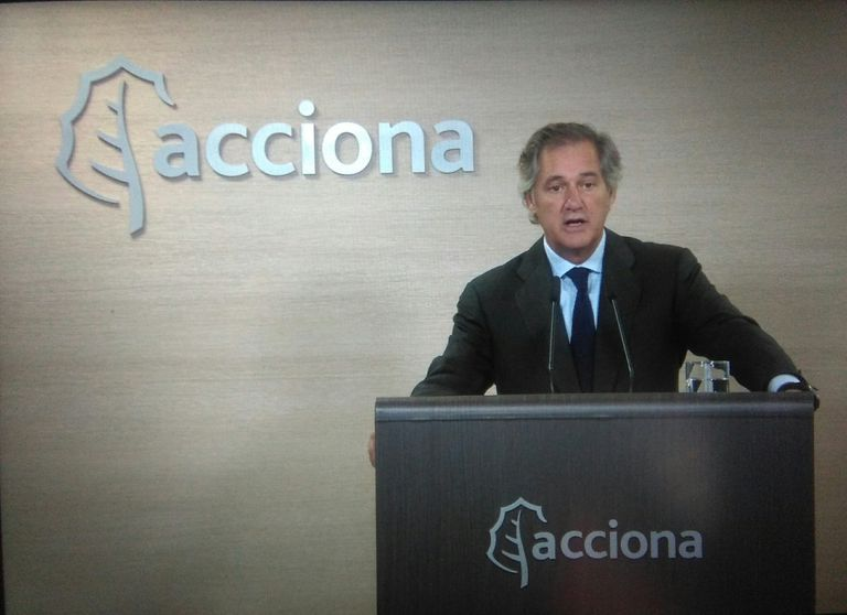El presidente de Acciona, José Manuel Entrecanales, en la junta del pasado año celebrada telemáticamente.
