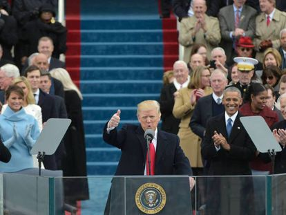 El presidente de EE UU, Donald Trump, durante la ceremonia en la que ha jurado el cargo este viernes, en Washington.