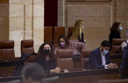 Bancada de Adelante Andalucía en el Parlamento autónomo sin los diputados de Anticapitalistas expulsados.