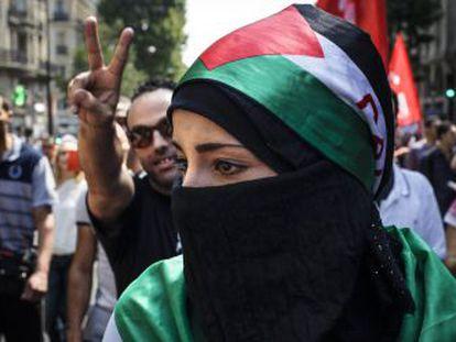 Manifestación en La Goutte d'Or contra la ofensiva de Israel en Gaza, en verano de 2014.