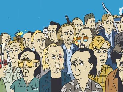 Contraportada del libro 'Las 100 primeras películas de Nicolas Cage', de Paco Alcázar y Torïo García.