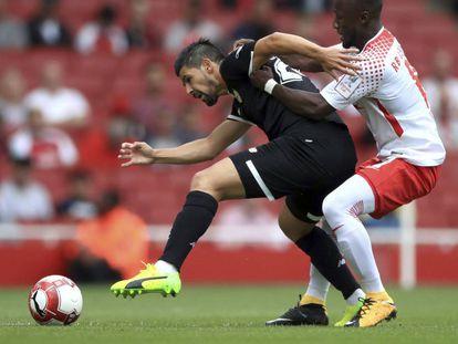Nolito, en el partido ante el Leipzig de la Emirates Cup.