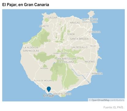 Mapa con la localización de El Pajar, en Gran Canaria