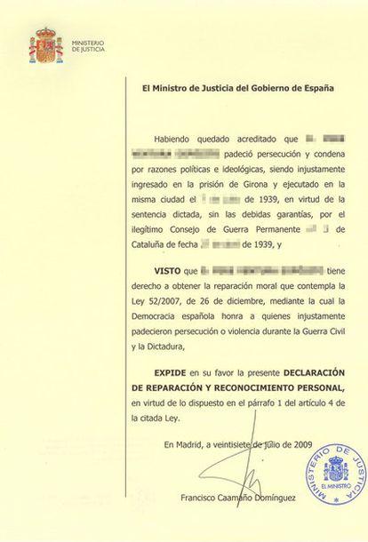Modelo de la declaración de reparación y reconocimiento personal que concede el Ministerio de Justicia a los represaliados del franquismo