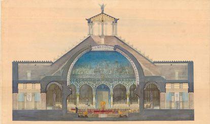 Proyecto de reválida de un paraninfo que presentó Gaudí el 1877 a la Escuela Superior de Arquitectura de Barcelona.