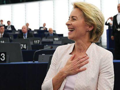 La nueva presidenta de la Comisión, el día de su elección en Estrasburgo.