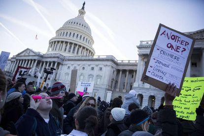 Manifestación contra Trump, el sábado ante el Capitolio.