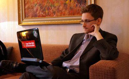 Edward Snowden, durante una entrevista en Moscú en 2013.
