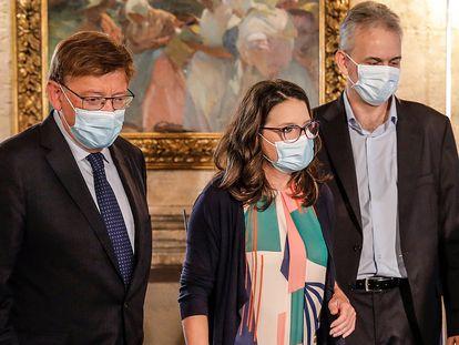 El presidente de la Generalitat, Ximo Puig; la vicepresidenta del Consell, Mónica Oltra y el nuevo vicepresidente segundo, Héctor Illueca.