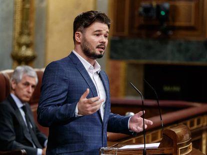 El portavoz de ERC, Gabriel Rufián, interviene en el Congreso.