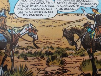Encounter between Blueberry and Cochise in the founding story of the series, 'Fort Navajo', by Charlier and Giraud.