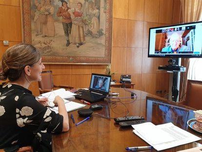 La ministra de Trabajo y Economía Social, Yolanda Díaz, en un encuentro virtual con miembros de Pimec.