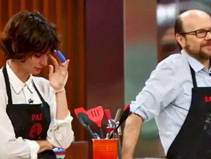 Paz Vega y Santiago Segura en un momento de 'Masterchef Celebrity', el domingo pasado.