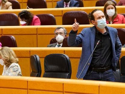 El vicepresidente segundo, Pablo Iglesias, interviene este miércoles durante la sesión de control al Gobierno en el Senado.