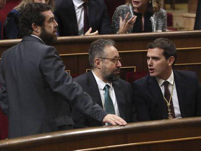 Miguel Gutiérrez, Juan Carlos Girauta y Albert Rivera.